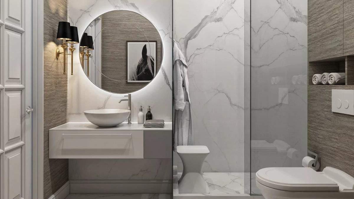 Ванна в сіро-білих кольорах: поради щодо оформлення